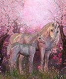 azutura Märchen-Einhorn Fototapete Rosa Kirschblüte Tapete Mädchen Dekor Erhältlich in 8 Größen XXX-Groß Digital