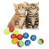 Broadroot 18Stk. Haustier-Katze-Kätzchen-Spielzeug Bälle mit Klingel Bell Pounce Chase Rattle Toy