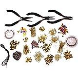 Grand kit de fabrication de bijoux de 1000 pièces pour débutants - pinces, fermoirs, perles, cordons, fil de fer et accessoires plaqués or par Curtzy TM.