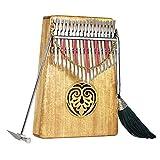 ammoon Kalimba 17 Llaves Mbira Thumb Piano Sanza Madera Maciza Finger Piano con Bolsa de Transporte Libro de Música Pegatinas a Escala Musical Martillo de Ajuste