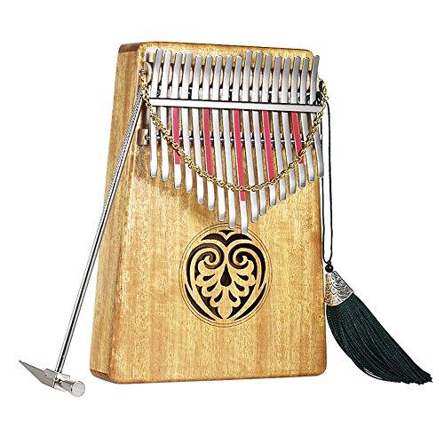 ammoon Kalimba 17 Tasti Mbira Thumb Piano Sanza Legno Massiccio Finger Piano con Carry Bag Libro di Musica Adesivi in Scala Musicale Tuning Hammer Regalo Musicale Facile da Imparare AKP-17L (AKP-17L) (AKP-17L)