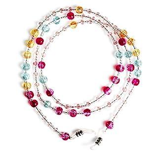 Ajetex Kristall-Perlen-Perlen- Brille Sonnenbrille Kette Inhaber Halskette Mehrfarbig