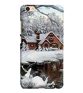 Takkloo view of snowfall winter view,blue sky, beautiful house) Printed Designer Back Case Cover for Vivo V5