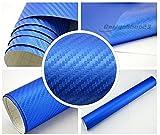 4,70€/m² Auto Folie - 3D Carbon blau metallic blasenfrei - selbstklebend BLASENFREI flexibel Car Wrapping Klebefolie folieren