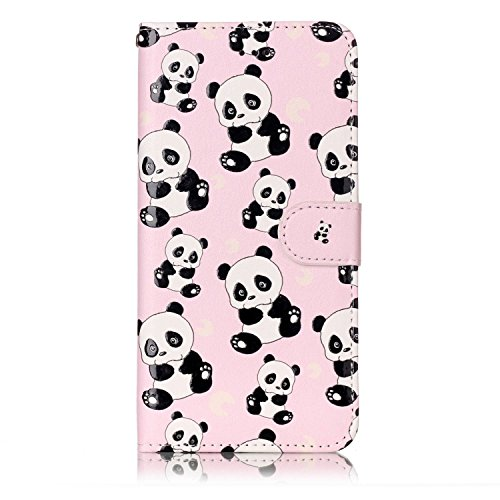 Coque Etui pour iPhone 6/6S,iPhone 6S Coque Portefeuille PU Cuir Etui,iPhone 6S Coque de Protection en Cuir Folio Housse, iPhone 6S Leather Case Wallet Flip Protective Cover Protector, Ukayfe Etui de  Panda