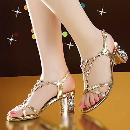 Lgk & fa estate sandali da donna estate estate sandali col tacco alto all-match scarpe con diamanti grezzi Noble gold