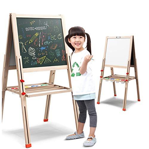 Staffelei mit grüner Tafel Trocken-Löschen-Brett / Ablagefach justierbares deluxes magnetisches stehendes Kunst-Staffelei für Kinder, das doppelseitige hölzerne Zeichnung faltet ()
