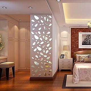 VENMO 12 Stücke 3D Spiegel Vinyl Abnehmbare Wandaufkleber Aufkleber Home Decor Art DIY