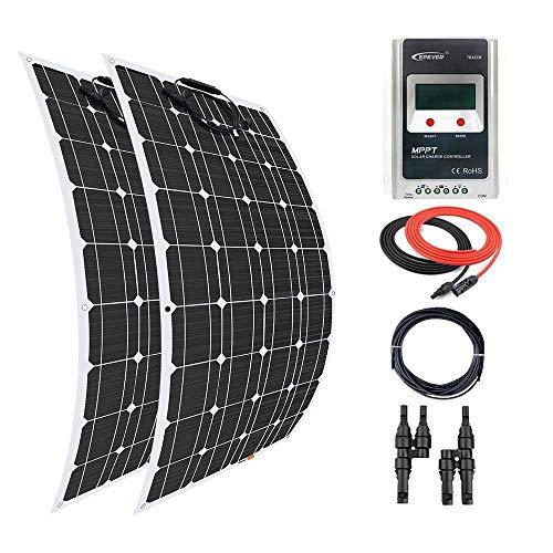 Este giosolar Kit Solar incluye:-2pcs alta eficiencia 100W Panel Solar monocristalino flexible con 90mm de conectores de cable solar especial y resistente al agua-MPPT 30A 12V/24V controlador de carga solar con pantalla LCD.-1par y rama...