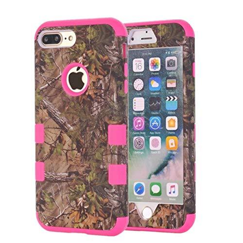 Apple iPhone 7+/8+ Plus Camo Eiche Baum Camouflage Echten Jagd Mossy Langlebige Schutzschale Defender Robuste Drop Schutz stoßfest Dicke Abdeckung [3Stück] by Tech Express, Rot -