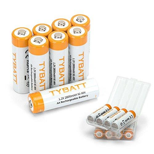 TYBATT Aufladbare AA Akku Batterien 2800mAh NiMh, mit Batterie Aufbewahrungsbox, 1200 Zyklen, 8 Stck
