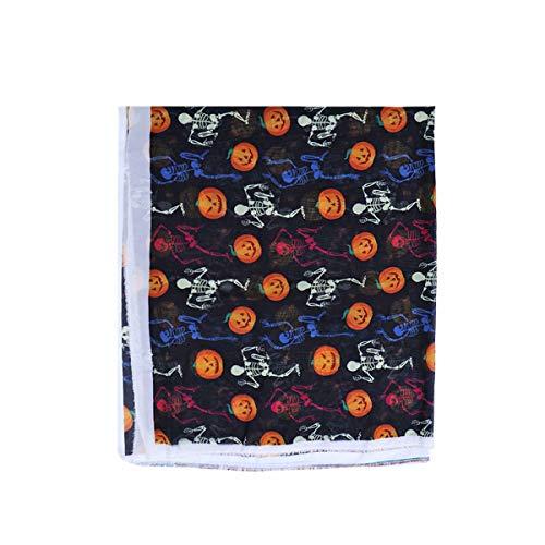 Healifty Halloween Chiffon Stoff Kürbis Schädel Druck Tuch Material für DIY Kleidung Kleid Handwerk Dekoration Kunst Projekte