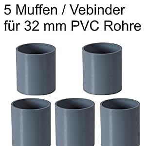 pvc rohr 32 sowie rohrverbinder winkel kniest ck muffen t st ck kappen 5 x muffen 32mm. Black Bedroom Furniture Sets. Home Design Ideas