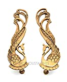Two Moustaches Peacock Design Brass Door Handle Pair (2 pcs)