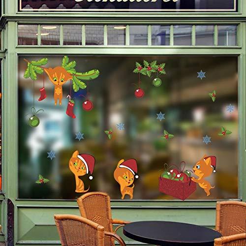xuritaotao Schöne Katzen Frohe Weihnachten Dekorative Wandaufkleber Fensterglas Dekoration Tiere Abziehbilder DIY Xmas Festival PVC Wandbild Kunst