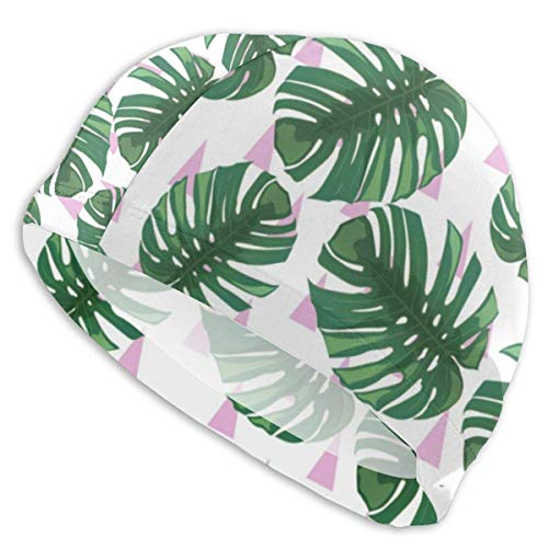 Kostüm Green Mann Jugend - Gebrb Green Tropical Leaves Pattern Lycra Badekappe/Schwimmkappe/Bademützes Bathing and Shower Hair Cover Ear Protection for Long Hair & Thick Hair & Curly Hair, Easy to Put On and Off
