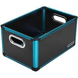 anndora Regalbox Office Box Aufbewahrungsbox Schwarz Blau - Kunststoff Aluminium