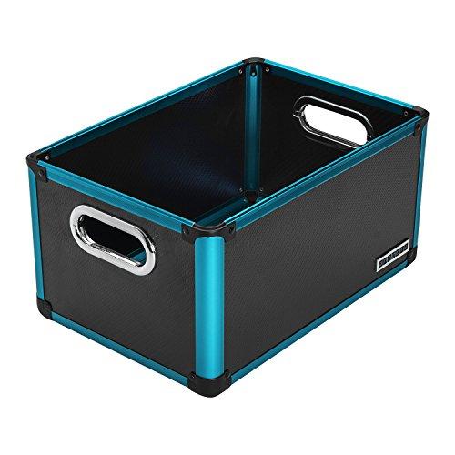 anndora Regalbox Office Box Aufbewahrungsbox Schwarz Blau - Kunststoff Aluminium (Aluminium-aufbewahrungsbox)