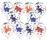 Libetui 10 Bunte Luftballons Dinosaurier Deko Geburtstag Kindergeburtstag Dinoparty Prehistoric Party 30cm
