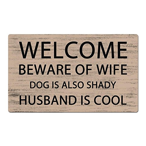 Welcome Beware Of Wife Dog Is Also Shady Husband Is Cool Unique Design Indoor/Outdoor Doormat 30(L)X18(W) inch Non-Slip Machine-washable Home Decor Rug