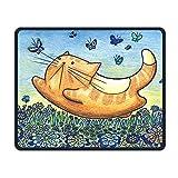 Mousepads wünschen genähte Ränder, glückliche Katzen-Fang-Schmetterlings-Anti-Beleg-Persönlichkeit entwirft Spiel-Mausunterlage Schwarzes Tuch-Rechteck Mousepad Kunst-Naturkautschuk Mauspad