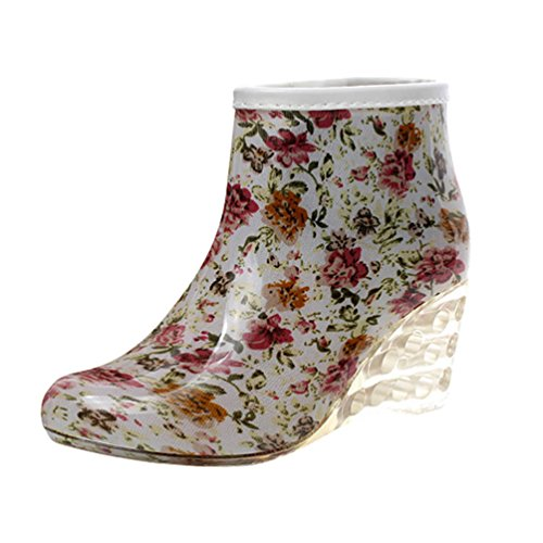 LvRao Frauen Stiefeletten Lederstiefel mit Hohen Absätzen Gummistiefeln Wasserdichte Gartenschuhe Regen Boots Knöchel Stiefel Blume
