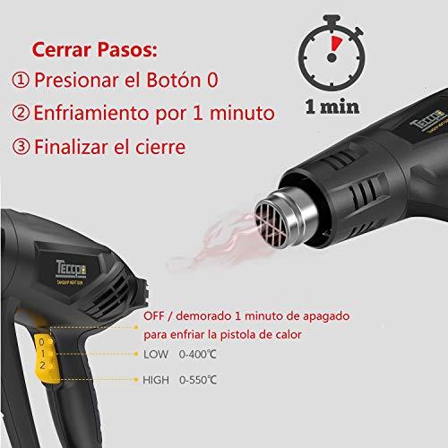 Pistola de Aire Caliente,  TECCPO 2000W 240V,  3 Temperatura (50℃-  550℃),  Máximo Flujo de Aire 500L/min,  1- Min de Función innovadora de Enfriamiento,  con 7 Accesorios de Metal -  TAHG01P