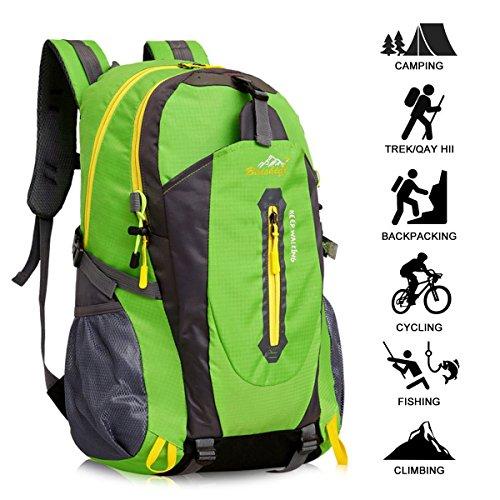 Yunplus 40L Leichtes Wandern Rucksack, Multifunktions Wasser-resistent Casual Camping Trekking Rucksack für Radfahren Reisen Klettern Outdoor Sport - Grün (Camping-womens Licht)