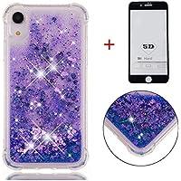 SHYHONG Kompatibel iPhone XR Hülle+5D gehärtetem Glas Dynamischer Treibsand Transparent TPU Silikon Handyhülle Vier Eckluftkissen Schutzhülle Anti-Shock Bumper Cover(Lila)