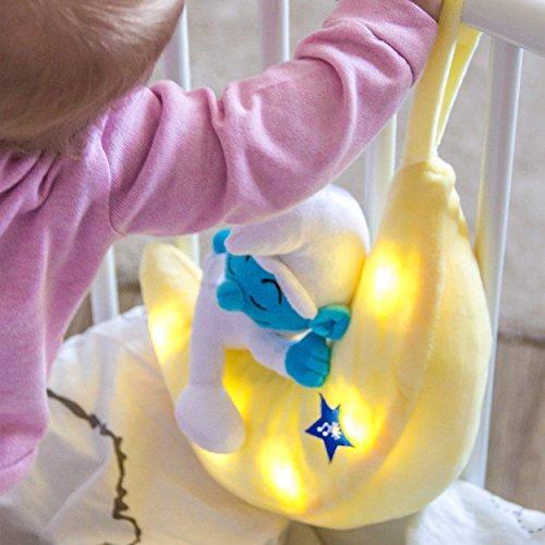 ANSMANN LED-Mondnachtlicht Schlumpf / Niedliche Einschlafhilfe zum Kuscheln mit Schlummerliedfunktion & sanftem Licht für ruhigen Tiefschlaf / Kuschelweiches 2-in-1 Plüschtier für Babys & Kleinkinder - 5