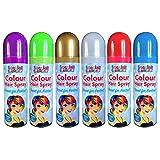 6x Buntes Haarspray–Blau, Lila, Grün, Silber, Gold und Rot