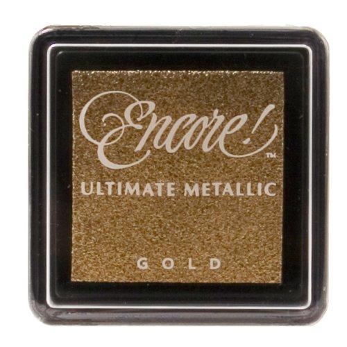Ultimate Metallic Kleine Stempelkissen Tsukineko Tinte Pad, Metallic Gold -