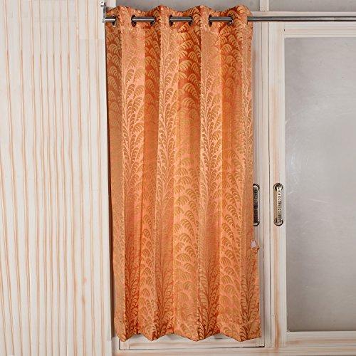 Threadmix Orange Leafy Poly cotton Window Curtain (5 feet, Single Curtain)