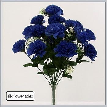 18 head royal blue carnation artificial silk bush weddinggravevase 18 head royal blue carnation artificial silk bush weddinggravevase by carnation bushes mightylinksfo