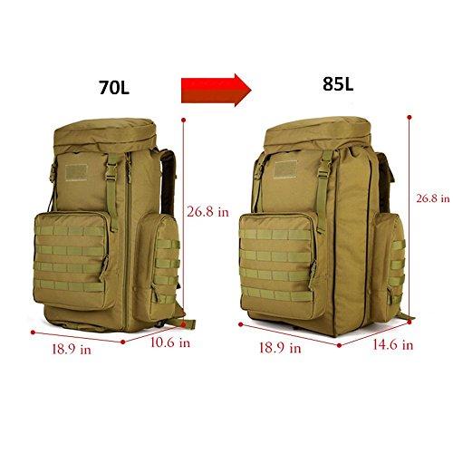 SUNVP 70-85L Tactical Molle Rucksack Gro?es wasserdichtes Angriffspaket Military Gear Equipment Wandern Camping Rucks?cke Schwarz Brown