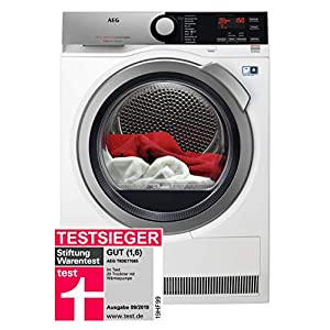 AEG T9DE77685 Wärmepumpentrockner / FiberPro - Trocknen ohne Vorsortieren / 8,0 kg / A+++ / energiesparend / Mengenautomatik / Knitterschutz / Kindersicherung / Schontrommel / Trommelbeleuchtung