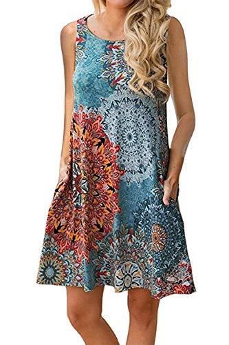 The Aron ONE Sommerkleider Damen Casual Ärmellos T-Shirt Kleid Kurzen Blumen Bedrucktes Strandkleider mit Taschen (Blau-Grün, XXL)