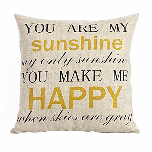 luxbon-yellow Sunshine Happy lettere Euro Cuscino Divano