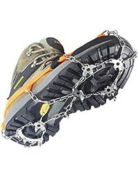YUEDGE 18 Zähne Edelstahl Steigeisen Schuh Spikes Silikagel Schneeketten Schuh-Krallen Anti Rutsch Spikes für Wandern Eis Schnee