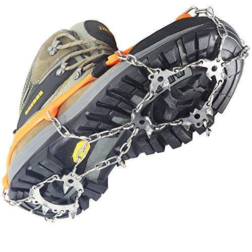 YUEDGE 18 Zähne Edelstahl Steigeisen Schuh Spikes Silikagel Schneeketten Schuh-Krallen Anti Rutsch Spikes für Wandern Eis Schnee(Orange XL)