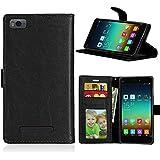 Qiaogle Teléfono Case - Funda de PU Cuero Billetera Clamshell Carcasa Cover para Xiaomi Mi4C / Mi4i (5.0 Pulgadas) - DK02 / Negro Moda Elegante estilo