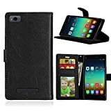 Telefono Caso per Xiaomi Mi 4i 4c Mi4i Mi4c M4i M4c ,PU Custodia In Pelle 3 Carte Slot Credito Flip Cover Case Chiusura Magnetica-Nero