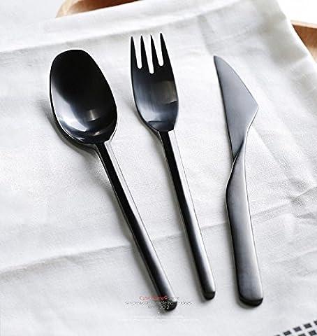 K&C Couverts Dîner Couteau Fourchette Cuillère Ensemble de 3 services couteau dîner cuillère dîner et souper Forks Noir