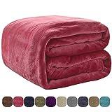 VEEYOO Luxus Flanell-Fleece-Decke – extra weich Sommer kühlend warme leichte Bettdecke für alle Jahreszeiten antistatische Couch-Decke für Reisen Camping, rot, Twin-60 * 80inch