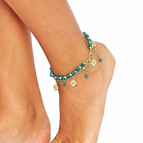 Ankle Bracelet,Saingace Women Lady Elegant Sexy Fashion Bohemian Bling Bling Double Necklace Beach Turquoise Barefoot Sandal Foot Jewelry Anklet Chain