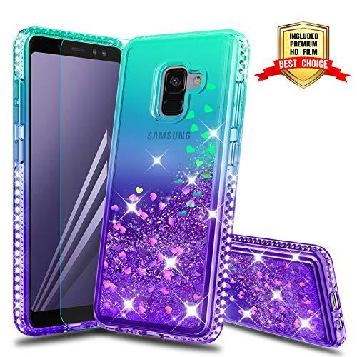 Cover Galaxy A8 2018 Custodia Brillantini Trasparente, Glitter Morbido Telefono Smartphone Protezione Cover per Italia Samsung Galaxy A8 2018 Telefonino Donna Green/Purple