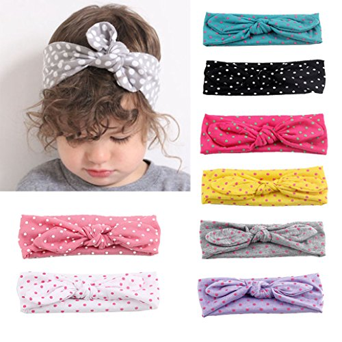 Baby Mädchen Stirnbänder,Tukistore 7 Pack Kleinkind Baumwolle Runde Dot Kaninchen Ohr Turban Knoten Kaninchen Haarband Headwear Headwrap Bögen Haarschmuck