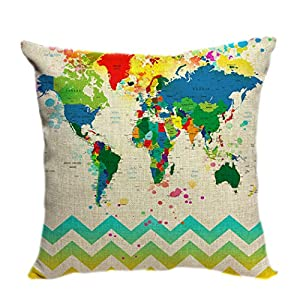 violetpos funda de cojín decorativo sofá cojín funda Auto Fundas de cojín fundas de almohada Multicolor Mapa del Mundo y Chevron
