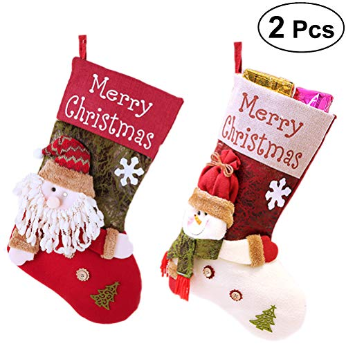 BESTONZON 2pcs klassische Weihnachtsstrümpfe, süße Strümpfe Geschenk behandeln Tasche, geeignet für Weihnachtsbaum hängen Weihnachtsdekoration (Weihnachtsmann und Schneemann, 47x29x1cm)