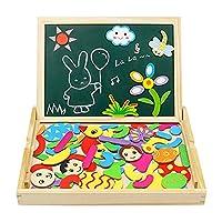 Puzzles Magneticos Tablero de Madera del Dibujo y de Pintura Doble Cara Magnético Rompecabezas para Niños 3+ Años (76 PCS) de SM Toys Factory